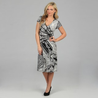 Connected Apparel Women's Black Paisley Print Cap Sleeve Dress