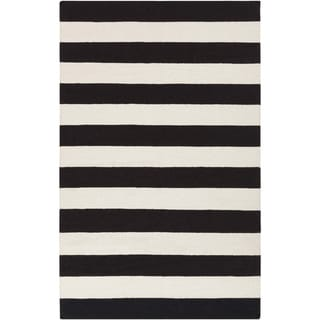 Hand-woven Jailhouse Stripe Jet Black Wool Rug (8' x 11')
