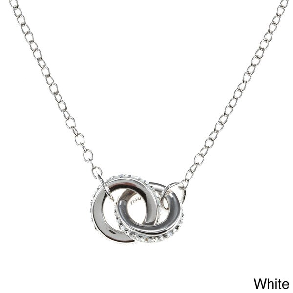 La Preciosa Sterling Silver Crystal Double Ring 17-inch Necklace