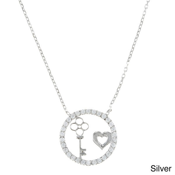 La Preciosa Sterling Silver CZ Circle, Heart and Key Necklace