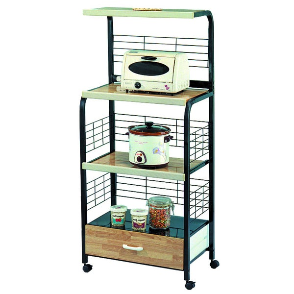 Black Kitchen Microwave Shelf with Outlet