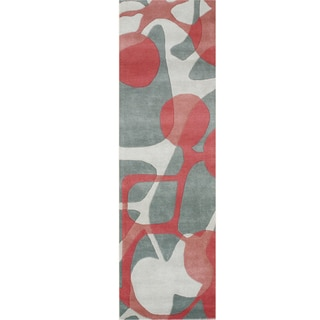Alliyah Watermelon New Zeeland Blend Wool Rug (3 x 10)
