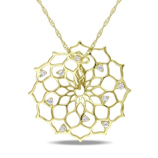 14k Gold 1/8ct TDW Diamond Flower Necklace (G-H, SI1-SI2)
