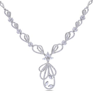 Miadora 14k White Gold 4 4/5ct TDW Diamond Necklace (G-H, SI1-SI2)