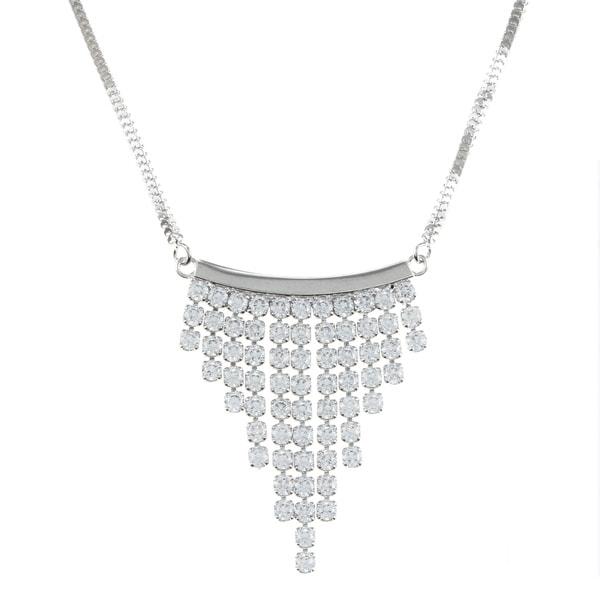 La Preciosa Sterling Silver Cubic Zirconia Graduated Dangle Necklace