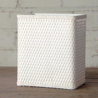 Carter White Rectangular Wastebasket