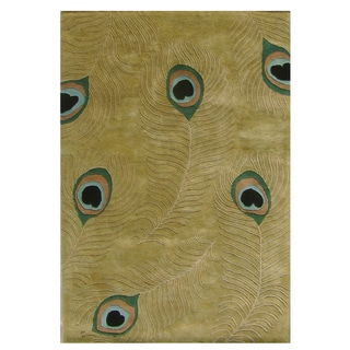 Fashion-N-You Alliyah Peacock Sage Green New Zealand Blend Wool Rug (9' x 12')