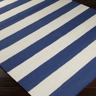 Handwoven RoyalStripe Blue Corn Wool Rug (5' x 8')