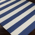 Handwoven RoyalStripe Blue Corn Wool Rug (5' x 8')