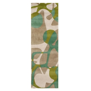 Alliyah Handmade Lime Green New Zeeland Blend Wool Rug (3' x 10')
