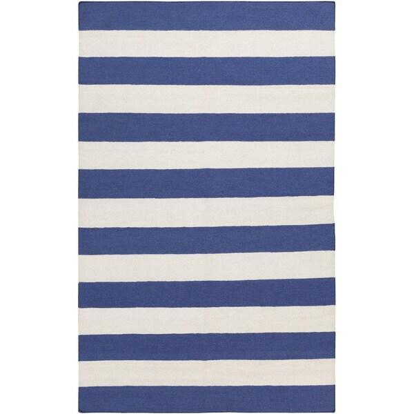 Handwoven RoyalStripe Blue Corn Wool Rug (9' x 13')