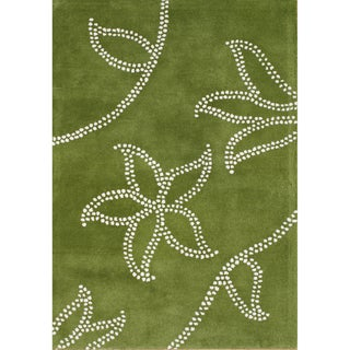 Alliyah Handmade Green New Zealand Blend Wool Rug (6x9)