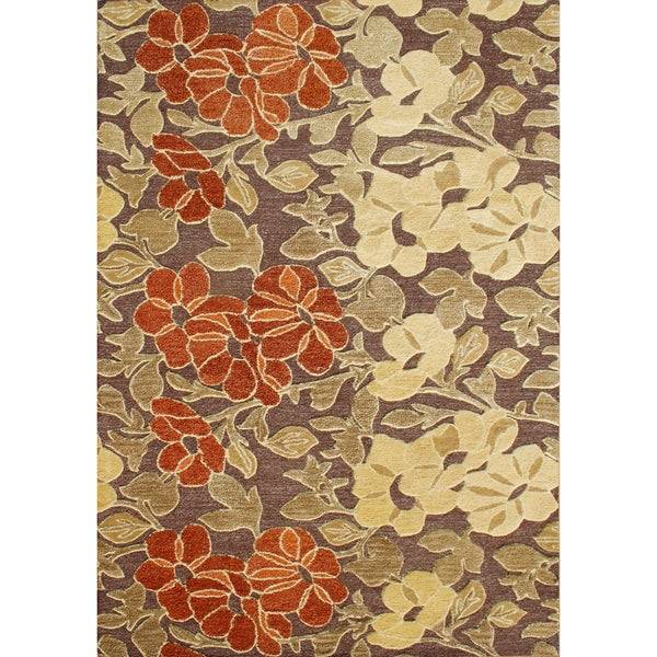 Alliyah Handmade Tobacco Brown New Zealand Blend Wool Rug (6x9)