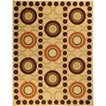 Non-Skid Ottohome Ivory Contemporary Brown Circles Area Rug (5' x 6'6)