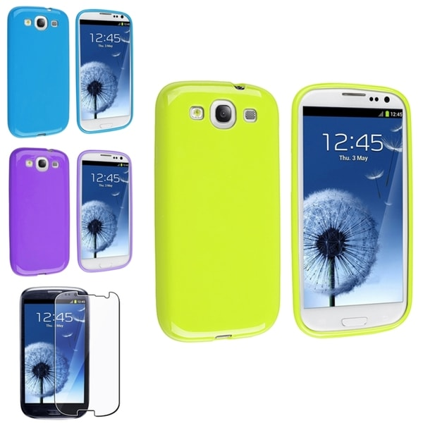 INSTEN Purple Phone Case Cover/ Screen Protector for Samsung Galaxy SIII/ S3
