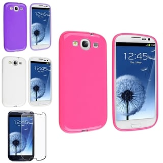 INSTEN Pink/ White Phone Case Cover/ Screen Protector for Samsung Galaxy SIII/ S4