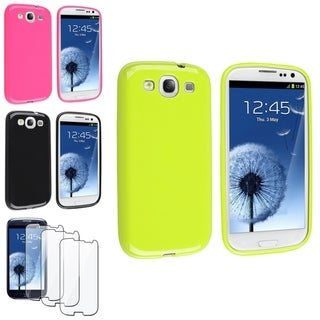INSTEN Green/ Pink Phone Case Cover/ Screen Protector for Samsung Galaxy SIII/ S3