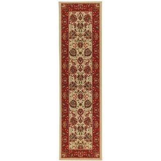 Non-Skid Ottohome Ivory Floral Traditional Runner Rug (2' x 7')