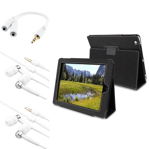 INSTEN Leather Tablet Case Cover/ Headset/ Headset Splitter for Apple iPad 2