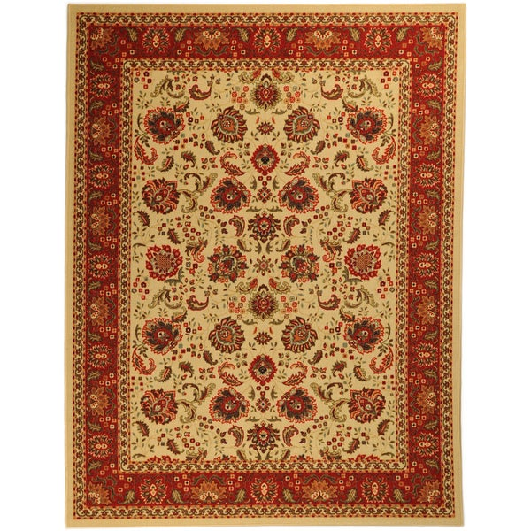 Non-Skid Ottohome Ivory Floral Traditional Area Rug (5' x 6'6)
