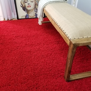 Shag Solid Red Area Rug (3'3 x 4'7)