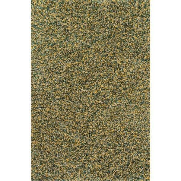 Hand-woven Baxter Teal/ Gold Shag Rug (7'6 x 9'6)