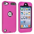 Insten Hot Pink/ Black Soft Silicone/ PC Dual Layer Hybrid Rubber Case Cover For Apple iPod Touch 5th/ 6th Gen