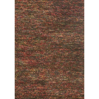 Hand-woven Avani Brown/ Multi New Zealand Wool Rug