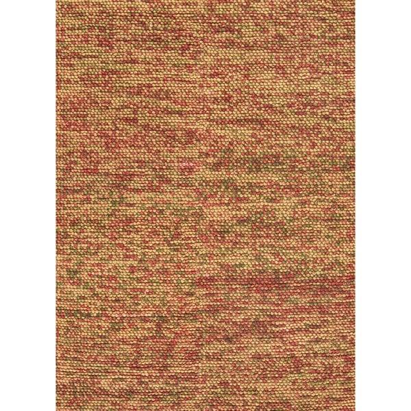 Hand-woven Avani Gold/ Rust New Zealand Wool Rug