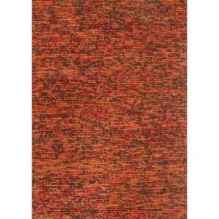 Hand-woven Avani Rust/ Brown New Zealand Wool Rug