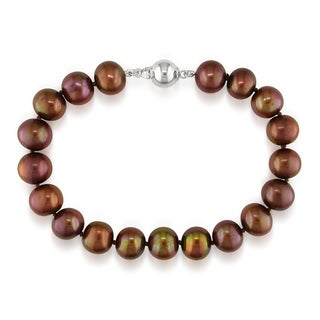 M by Miadora Sterling Silver Chocolate Cultured Freshwater Pearl Bracelet (8-9 mm)