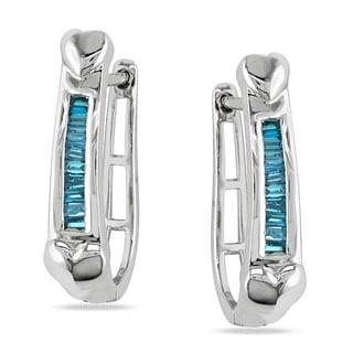Haylee Jewels Sterling Silver 1/4ct TDW Blue Diamond Hoop Earrings