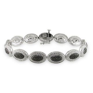 Miadora Sterling Silver 1/6ct TDW Black Diamond Bracelet