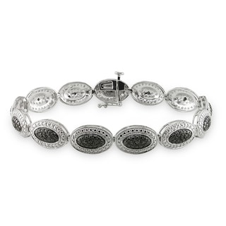 Haylee Jewels Sterling Silver 1/6ct TDW Black Diamond Bracelet