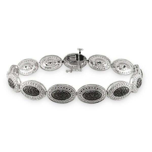 Haylee Jewels Sterling Silver 1/6ct TDW Black Diamond Bracelet