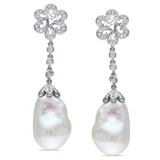 Miadora 14k Gold Cultured Freshwater Pearl and 1/2ct TDW Diamond Earrings (G-H, SI1-SI2)