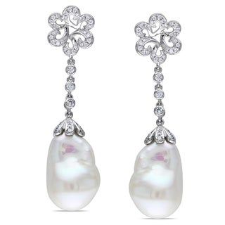 Miadora Signature Collection 14k Gold Cultured Freshwater Pearl and 1/2ct TDW Diamond Earrings (G-H, SI1-SI2)