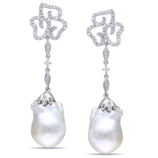 Miadora 14k White Gold Pearl and 1ct TDW Diamond Earrings (G-H, SI1-SI2)