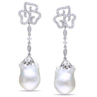 Miadora 14k White Gold Cultured Freshwater Pearl and 1ct TDW Diamond Earrings (G-H, SI1-SI2) with Bo