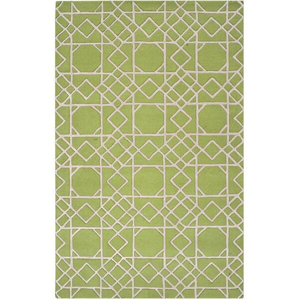 Hand-tufted Oss Green Geometric Trellis Wool Rug (3'3 x 5'3)