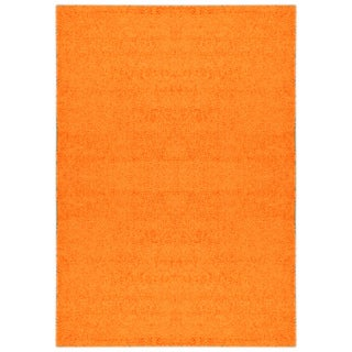 Shag Solid Orange Area Rug (5' x 7')