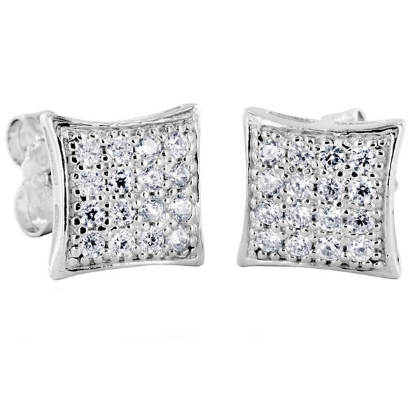 Sterling Silver Cubic Zirconia Hyperbolic Square Stud Earrings