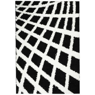 Shag Contemporary Boxes Black and White Area Rug (6'7 x 9'3)