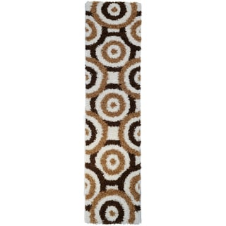 Shag Contemporary Circles Ivory Runner Rug (1'8 x 4'11)
