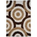 Shag Contemporary Circles Ivory Area Rug (5' x 7')