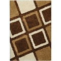 Shag Contemporary Geometric Boxes Brown Area Rug (5' x 7')