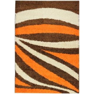 Shag Contemporary Waves Orange Area Rug (5' x 7')