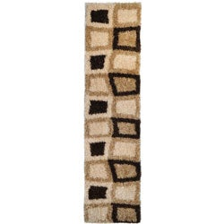 Contemporary Geometric Super Soft Shag Brown Runner Rug (1'8 x 4'11)