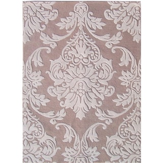 Alliyah Beige Medallion New Zealand Blend Wool Rug (6 x 9)
