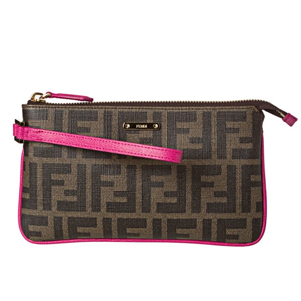 Fendi Tobacco and Pink Coated Canvas Zucca Print Wristlet